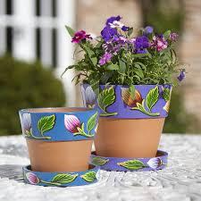 Painting Garden Pots Ideas Decoration Ideas Comely Picture Of Light Blue Purple Flower