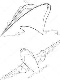 cruise ship u0026 airplane vector sketch u2014 stock vector bluezace