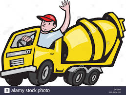 illustration of a construction worker driver driving a cement
