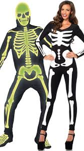 skeleton costume in the skeletons couples costume glow in the graveyard