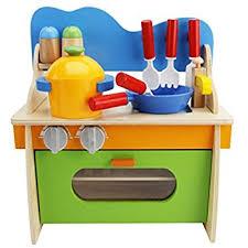 pretend kitchen furniture amazon com lewo children wooden play kitchen set pretend