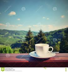 Beautiful Coffee Cups Morning Cup Of Coffee With A Beautiful Mountain Landscape