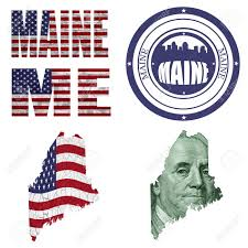 Maine State Flag Maine State Collage Map Stamp Word Abbreviation In Different