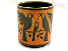 hornsea pottery birds in a tree cup mug orange olive