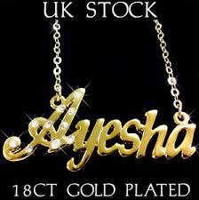 Gold Arabic Name Necklace Ayesha Name Necklace 18k Gold Plated Asian Arabic Personalised