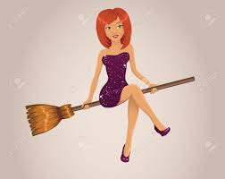 halloween witch flying on a broom royalty free cliparts