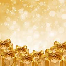 gold christmas gold gift box on abstract gold christmas background stock photo