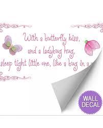 butterfly kiss wall sticker nursery mural saying ladybug hug butterfly kiss ladybug hug saying wall decal