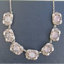 silver pink necklace images Vintage rose quartz and silver ne from necklace jpg