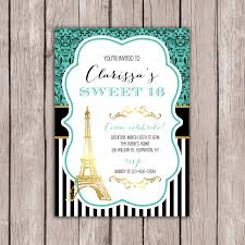 Sweet 16 Birthday Invitation Cards Sweet 16 Invitation Paris Theme Birthday Party Eiffel Tower