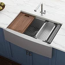 bowl kitchen sink for 30 inch cabinet ruvati verona rvh9100 30 apron front workstation farmhouse single bowl kitchen sink stainless steel 16