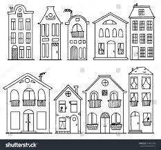 cute houses set doodle cute houses outline vector stock vector 574835506