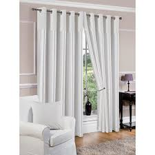 White Faux Silk Curtains Faux Silk Fully Lined White Eyelet Curtains