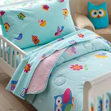 blue u0026 pink toddler owl bedding 4pc bed in a bag set
