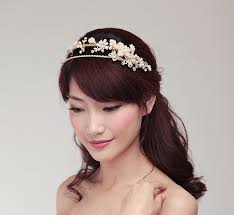 luxury handmade golden pearl bridal headband headpiece