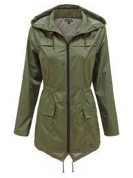 new la s womens plain parka mac hooded waterproof raincoats