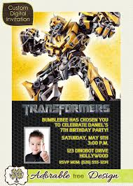 template exquisite transformers birthday party invitation