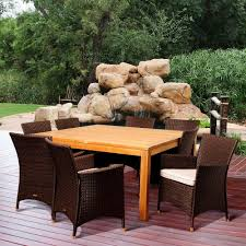 Patio Furniture From Home Depot - rst brands deco 9 piece patio dining set with cantina red cushions