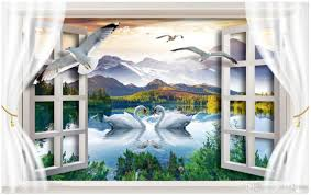 3d room wallpaper custom photo non woven mural swan lake scenery 3d room wallpaper custom photo non woven mural swan lake scenery window decor painting picture 3d wall murals wallpaper for walls 3 d free wallpapers for