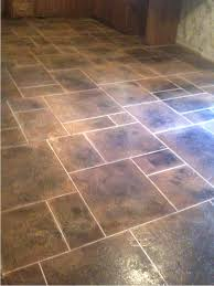 flooring brown tile flooring floor with blue gray walls