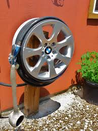 bmw hub cap upcycle hose reel upcycle car parts reuse recycle