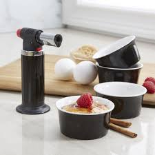 ksp crackle creme brulee torch with ramekin black set of 5