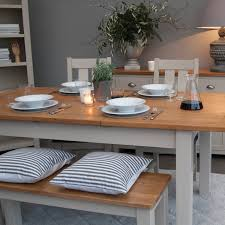 portland oak u0026 painted dining table 6 chairs package portland