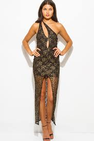 shop gold metallic black lace cut out one shoulder high slit