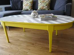 yellow wood coffee table chevron painted furniture bespoke hand painted upcycled geometric