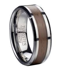 wood inlay wedding band men s tungsten wedding ring with beech wood inlay
