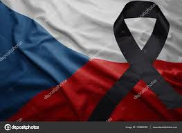 Czech Flag Flag Of Czech Republic With Black Mourning Ribbon U2014 Stock Photo