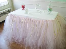 Pink Table Skirt by Custom Tulle Tutu Table Skirt Pink With Gold Ribbon