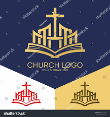 church logo christian symbols bible cross stock vector 487137736