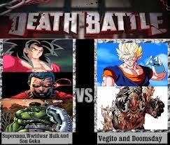 Superman Better Than Batman Memes - superman wwhulk and son goku vs vegito n doomsday by
