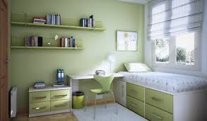 tidy small bedroom ideas for teenage girls with green colors theme