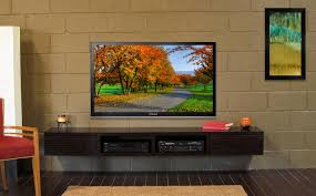 Tv Units With Storage Furniture Dark Brown Wooden Floating Media Cabinet With Pull Up