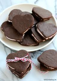 heart shaped cookies heart shaped chocolate sandwich cookies table for two