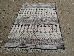 colored wool and cotton warp azilal rug fair trade morocco anou