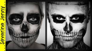 Skeleton Face Paint For Halloween by Maquillage Halloween Squelette Zombie Boy Skeleton Lady Gaga