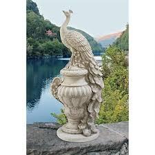 staverden castle peacock on an urn garden statue ky1876 design