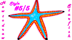how to draw a starfish step by step easy for kids and color