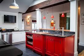 glittering red kitchen island granite top and red glass pendant