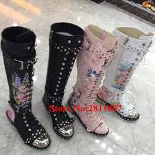 lace up moto boots new runway print floral leather cool punk cowgirl motorcycle boots