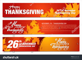 happy thanksgiving day three thanksgiving banners stock vector