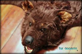 fur accents faux fur bear skin rug brown log cabin fake taxidermy