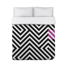 Geometric Duvet Cover Stassi Geometric Duvet Cover Black White Pink Fleece
