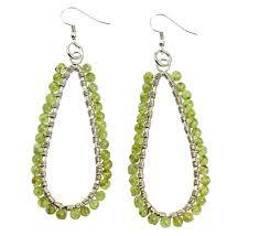 peridot earrings hammered silver wire wrapped tear drop peridot earrings