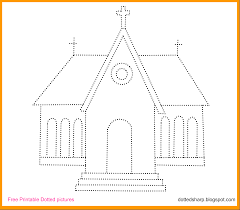 free dotted printable for kids dotted church drawing