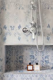 blue tile bathroom shower penny floor navy and white pictures best
