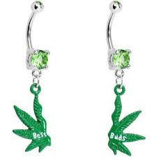 best buds pot leaf best friends belly ring set bodycandy